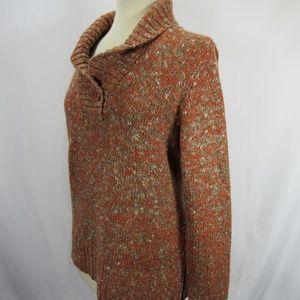 Liz Claiborne Burnt Orange Cowl Mock Sweater EUC
